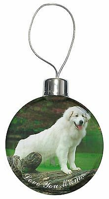 Pyrenean Mountain Dog 'Love You Mum' Christmas Tree Bauble Decorati, AD-PM1lymCB
