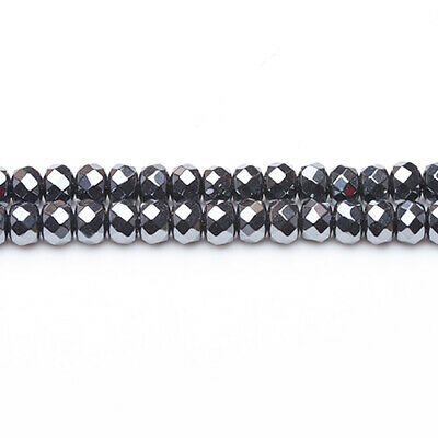 Hematite (Non Magnetic) Faceted Rondelle Beads 5x8mm Grey 65+ Pcs DIY Jewellery