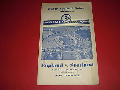 1946 Rugby Union England V Scotland Programme