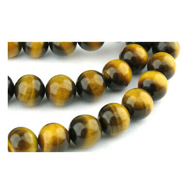 Strand 62+ Yellow/Brown Tiger Eye 6mm Plain Round Beads GS0373-2