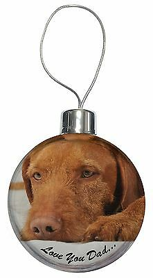 Hungarian Vizsla 'Love You Dad' Christmas Tree Bauble Decoration Gift, DAD-127CB