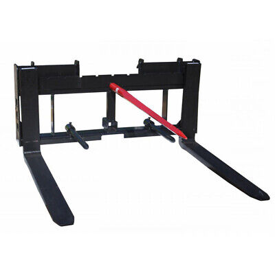"Titan Skid Steer 36"" Pallet Fork 49"" Hay Bale Spear Trailer Hitch Attachment"