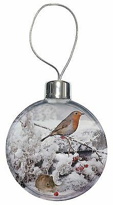 Snow Mouse and Robin Print Christmas Tree Bauble Decoration Gift, AMO-5CB