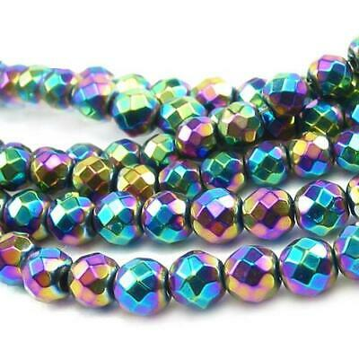 Strand Of 45+ Rainbow Hematite (Non Magnetic) 8mm Faceted Round Beads GS9613-4