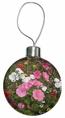 Poppies and Wild Flowers Christmas Tree Bauble Decoration Gift, FL-10CB