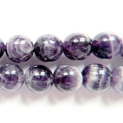 Chevron Amethyst Round Beads 6mm Purple/Grey 62+ Pcs Gemstones Jewellery Making