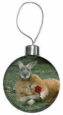 Kangaroo with Red Rose Christmas Tree Bauble Decoration Gift, AK-1RCB