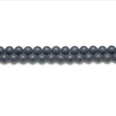 Strand Of 44+ Black Onyx 8mm Frosted Round Beads GS5624-3