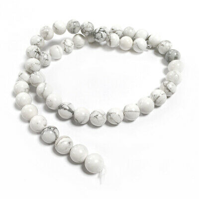Howlite Round Beads 8mm White/Grey 45+ Pcs Gemstones DIY Jewellery Making Crafts