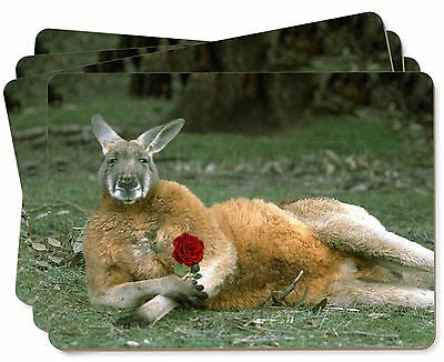 Kangaroo with Red Rose Picture Placemats in Gift Box, AK-1RP