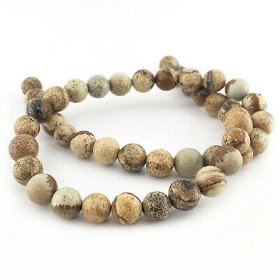 Strand Of 45+ Pale Beige Picture Jasper 8mm Plain Round Beads GS1647-3