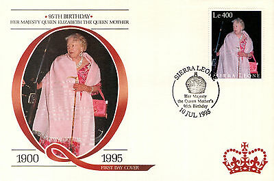 (88219) FDC Sierra Leone Queen Mother 95th Birthday 1995.