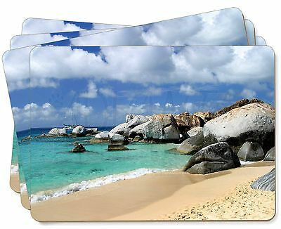 Tropical Seychelles Beach Picture Placemats in Gift Box, W-7P