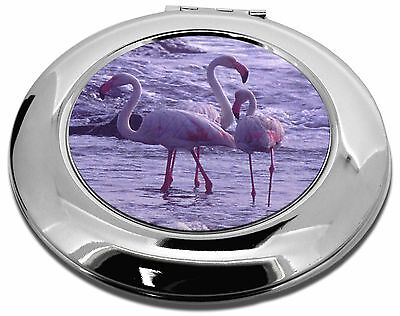 Pink Flamingo on Sea Shore Make-Up Round Compact Mirror Christmas Gift, AB-52CMR