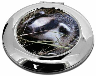 Badger in Straw Make-Up Round Compact Mirror Christmas Gift, ABA-1CMR