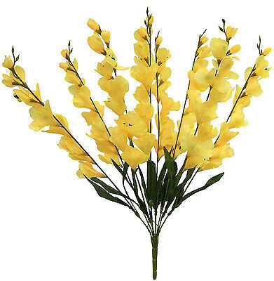8 Yellow  ~ GLADIOLUS ~ Blooms Silk Flowers Wedding Bouquets Centerpieces Decor