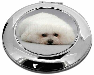 Bichon Frise Dog Make-Up Round Compact Mirror Christmas Gift, AD-BF1CMR