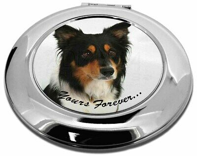 "Tri-colour Border Collie Dog ""Yours Forever..."" Make-Up Round Compa, AD-CO33yCMR"