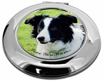 Border Collie Dog 'Love You Mum' Make-Up Round Compact Mirror Chr, AD-CO69lymCMR