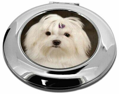 Maltese Dog Make-Up Round Compact Mirror Christmas Gift, AD-M1CMR