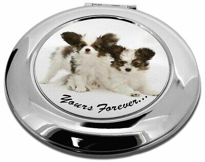 Papillon Dogs 'Yours Forever' Make-Up Round Compact Mirror Christmas, AD-PA66CMR