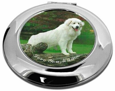 Pyrenean Mountain Dog 'Love You Mum' Make-Up Round Compact Mirror , AD-PM1lymCMR