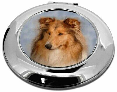 Rough Collie Dog Make-Up Round Compact Mirror Christmas Gift, AD-RC1CMR