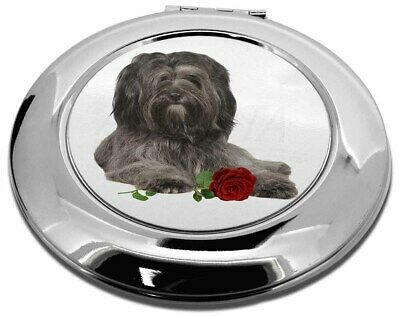 Tibetan Terrier with Red Rose Make-Up Round Compact Mirror Christmas, AD-TT2RCMR