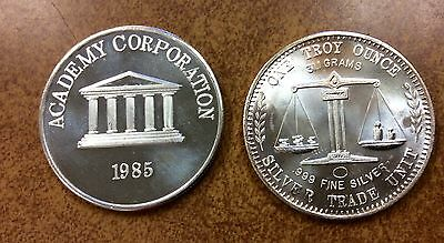 {BJSTAMPS} 1985 1oz ACADEMY CORPORATION BY AMERICAN PACIFIC MINT 999 FINE SILVER