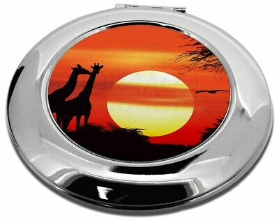 Sunset Giraffes Make-Up Round Compact Mirror Christmas Gift, AG-1CMR