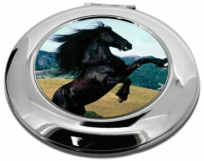 Rearing Black Stallion Make-Up Round Compact Mirror Christmas Gift, AH-3CMR