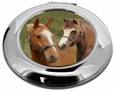 Horse Montage Make-Up Round Compact Mirror Christmas Gift, AH-9CMR