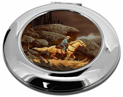 Horse Riding Cowboy Make-Up Round Compact Mirror Christmas Gift, AHC-1CMR