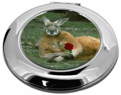 Kangaroo with Red Rose Make-Up Round Compact Mirror Christmas Gift, AK-1RCMR