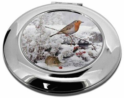 Snow Mouse and Robin Print Make-Up Round Compact Mirror Christmas Gift, AMO-5CMR