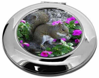 Squirrel by Flowers Make-Up Round Compact Mirror Christmas Gift, AS-1CMR