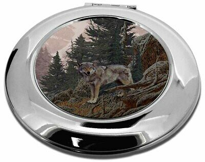 Mountain Wolf Make-Up Round Compact Mirror Christmas Gift, AW-4CMR