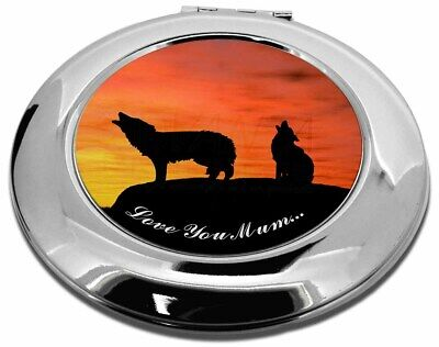 Sunset Wolves 'Love You Mum' Make-Up Round Compact Mirror Christmas , AW-5lymCMR