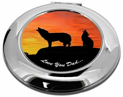 Sunset Wolves 'Love You Dad' Make-Up Round Compact Mirror Christmas , DAD-151CMR