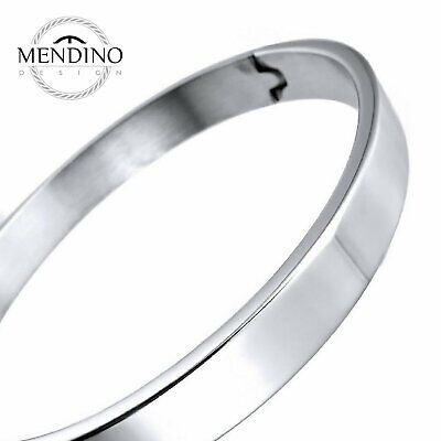 MENDINO Men's 316L Stainless Steel Bracelet Classic Polished Cuff Bangle Silver