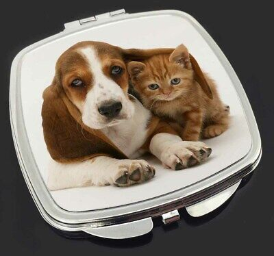 Basset Hound Dog and Cat Make-Up Compact Mirror Stocking Filler Gift, AD-BH1CM