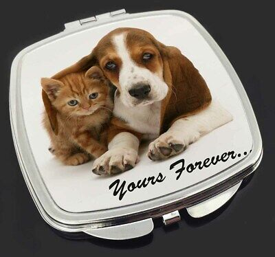 Basset Hound and Cat 'Yours Forever' Make-Up Compact Mirror Stocking F, AD-BH2CM