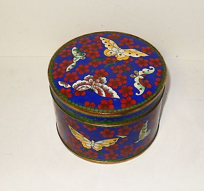 Large Chinese Cloisonne Royal Blue Enamel Floral Butterfly Jar Bowl Box