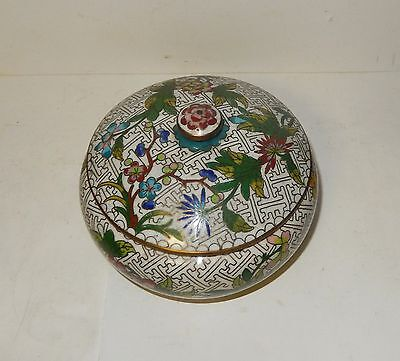 Old 19Th Century Chinese Cloisonne White Enamel Floral Old Jar Bowl Box