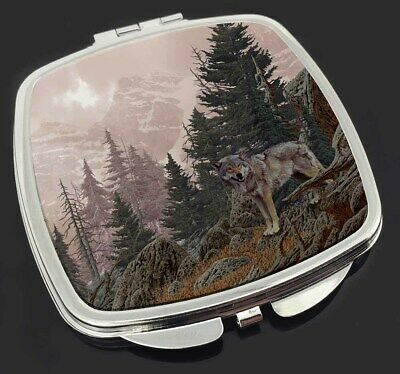 Mountain Wolf Make-Up Compact Mirror Stocking Filler Gift, AW-4CM