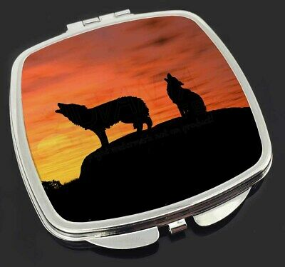 Sunset Wolves Make-Up Compact Mirror Stocking Filler Gift, AW-5CM