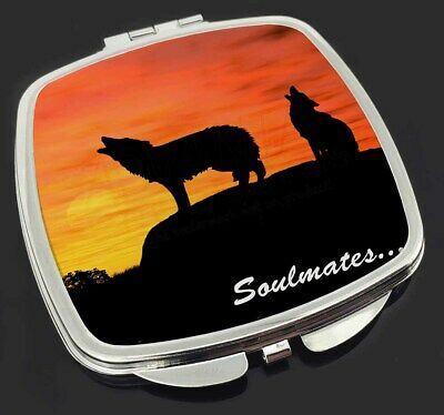 Sunset Wolves 'Soulmates' Make-Up Compact Mirror Stocking Filler Gift, SOUL-82CM