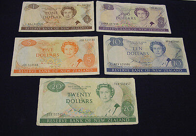 New Zealand $1  to $20 paper banknote set, circulated.