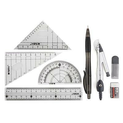 School Math Geometry Sets Squares Protractor Ruler Compass Pencil Eraser