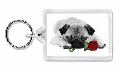 Pug (B+W Photo) with Red Rose Photo Keyring Animal Gift, AD-P92R2K